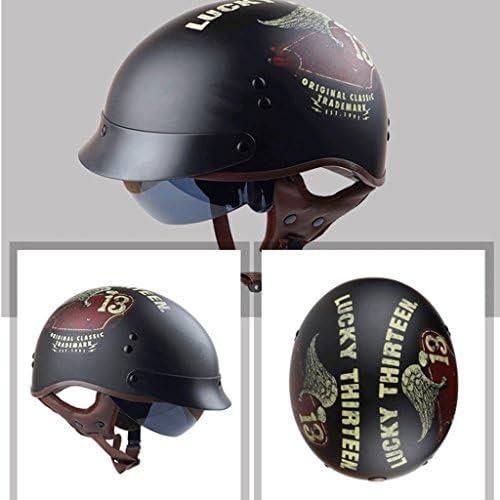 安全装置 ヘルメット - バイクオートバイの男性と女性レトロなサマープリンスヘルメットカップルヘルメットヘルメットフォーシーズンズユニバーサルヘルパーヘルメットゴーグル 個人用保護具 (色 : B, サイズ さいず : M m)