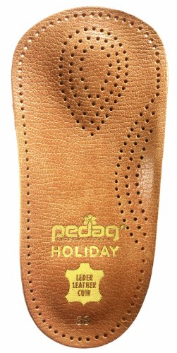 Pedag Holiday 2 Pair 34 Leather Orthotic Thin Semi-Rigid with Metatarsal Pad and Heel Cushion, Tan, 5.5 Ounce (US Women's 9 / Men's 6, EU 39)