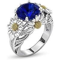Siam panva New Women Citrine Daisy Sapphire 925 Silver Jewelry Wedding Gift Ring Size 6-10 (7)