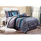 Modern 7 Piece Bedding RILEY Pinch Pleat Fine Printed Comforter Set in Blue / Teal Blue / Grey - KING size set with accent pillows
