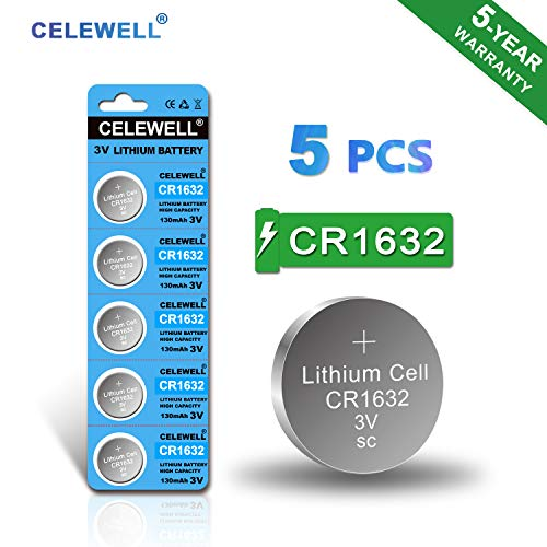- 【5-Year Warranty】 CELEWELL CR1632 Battery Lithium 3v for Garmin Vivofit Jr Key Fob Replacement (5 Pack)