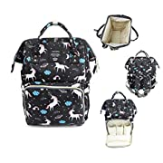 Vakker Wide Open Diaper Bag Backpack, Large Capacity, Multi Function Organizer, Waterproof, Unicorn (Light Gray)