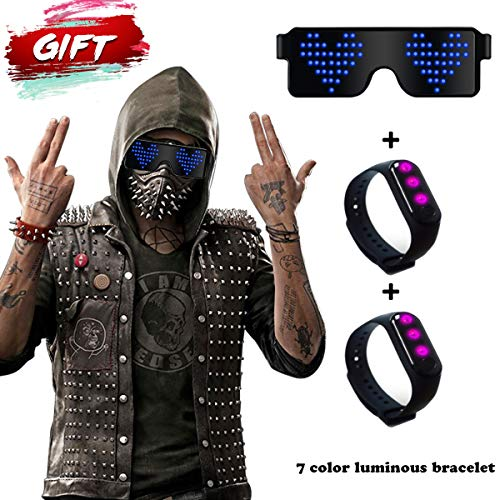 (RICISUNG Trustworthy 2019 LED Sunglass,Flashing Cool Party Light up Glasses can work in 8 Animation Modes for 10 Hours,For Nightclubs, DJ, Halloween, Birthday Parties, New Year's party Supplies)