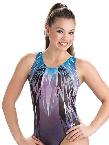 GK Girls Cool Crystal Gymnastics Leotard - Blue & Purple - Adult (Purple Leotards For Adults)