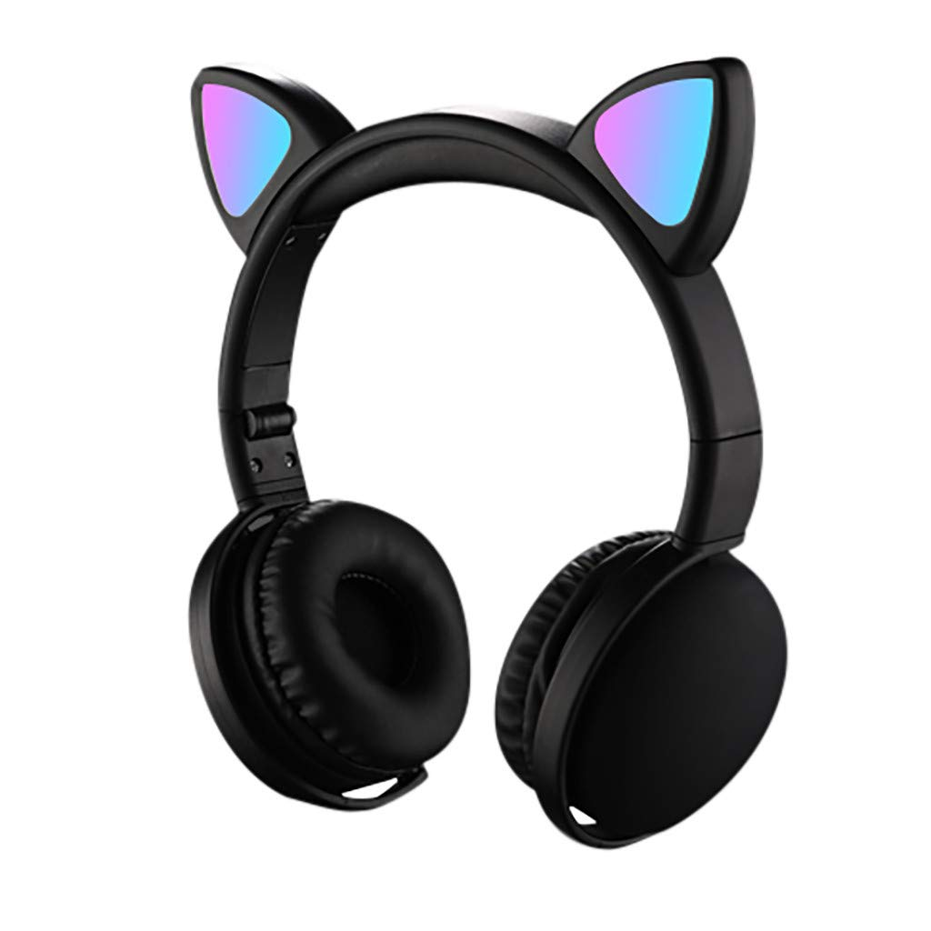 Wireless Headphones Bluetooth LED Light Up Cat Ear Over Ear/On Ear Safe Foldable Headset Stero with Microphone for iPhone/iPad/Xbox/Laptop/PC/PS4/TV Kids Adults, Active Noise Cancelling Mic (Black)