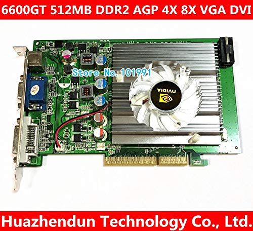 ShineBear nVIDIA GeForce 6600GT 512MB DDR2 AGP 4X 8X VGA DVI Video Card - (Cable Length: 6600GT)