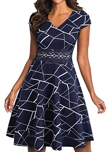 YATHON Women's White Blue Stripe Dress Plus Size Vintage Embroidery Waist Knee Length Office Work Party Homecoming Cruise Hawaiian Casual Dresses (XL, YT009-Blue w Stripe) (Lace Sleeve Embroidery)