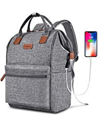 Laptop Backpack 15.6 Inch Wide Open Computer Backpack Laptop Bag College Rucksack Water Resistant Business Travel Backpack Multipurpose Casual Daypack with USB Charging Port for Women Men,Gray