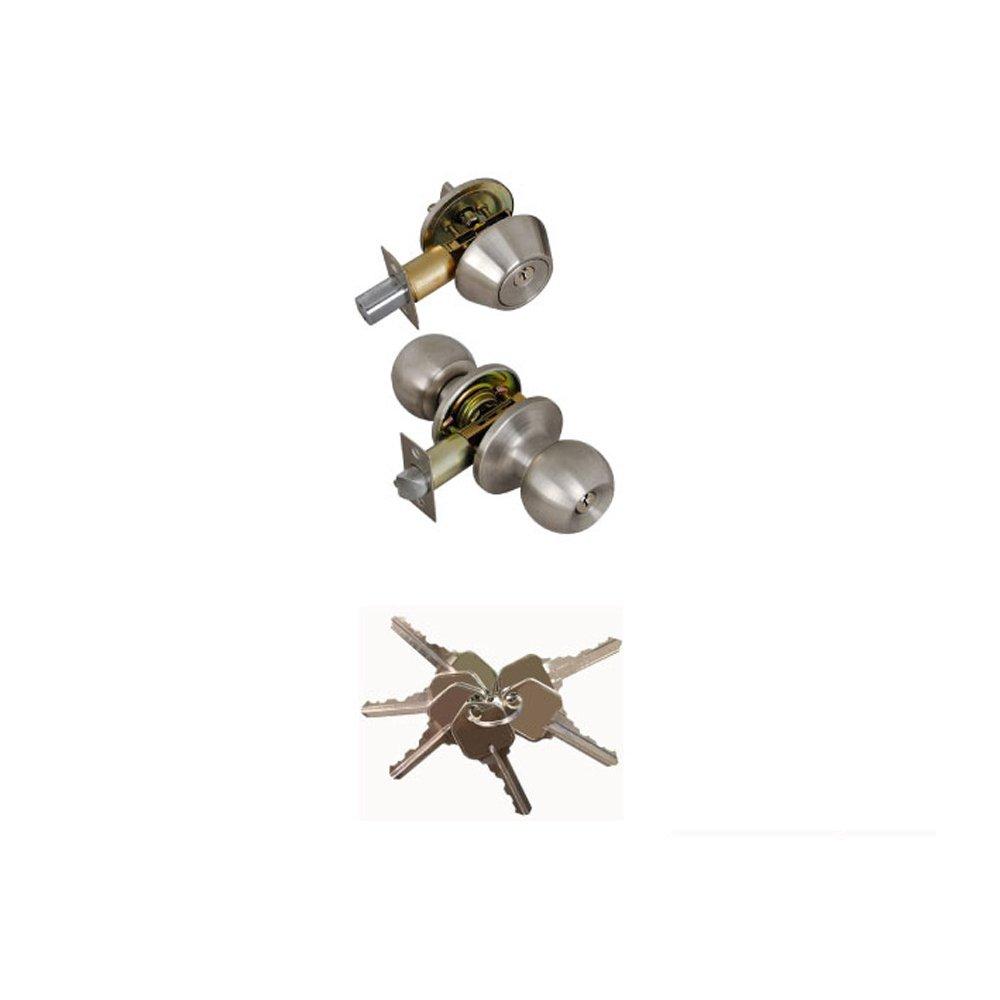 Grip Tight Tools ED06 Single Combo Entry Lock Set Door Knob with Double Cylinder Deadbolt Keyed Alike Keyway, Silver