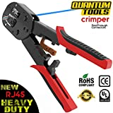 RJ45 crimp tool, professional heavy duty RJ45 crimper By Quantum Tools for ez Pass-through and legacy connectors
