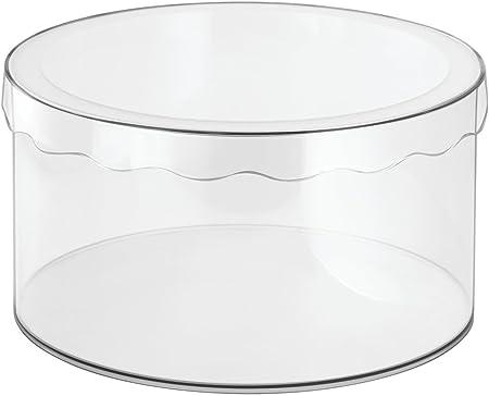 InterDesign Clarity Sombrerera con Tapa, Mediana Caja de Almacenamiento Redonda en plástico para pañuelos, Sombreros y Otros Accesorios, Transparente: Amazon.es: Hogar
