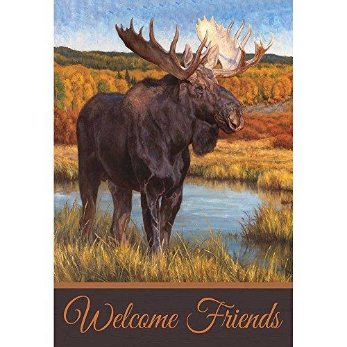 Standing Moose on the Hills Portrait 18 x 13 Rectangular Screenprint Small Garden Flag