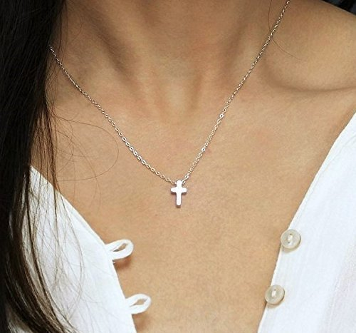 Tiny Cross Necklace/Minimal Necklace, Religious Necklace, Silver or Gold Cross Necklace from - Side 14k Charm Gold Right