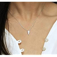 Tiny Cross Necklace/Minimal Necklace, Religious Necklace, Silver or Gold Cross Necklace from Hotmixcold