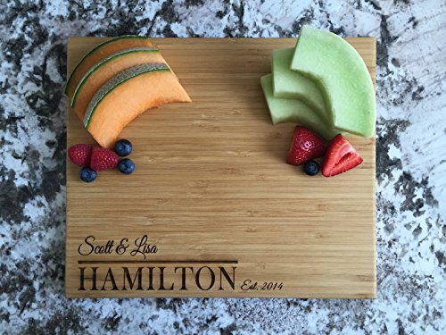 Personalized by Name Cutting Board for Kitchen - Wood Cutting Boards Housewarming Gifts (11 x 13 Single Tone Bamboo Rectangular, Hamilton Design)
