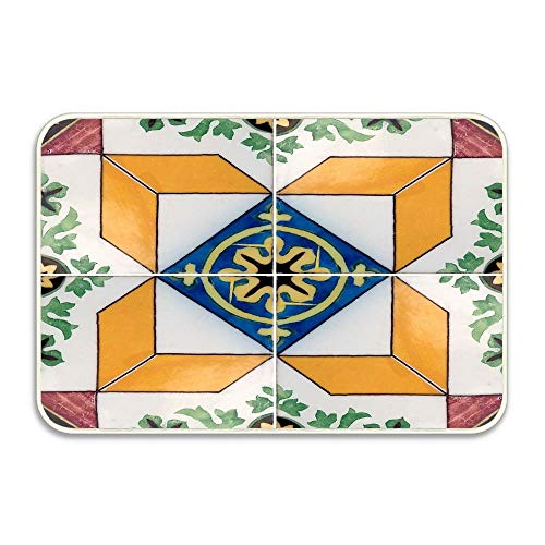 2 Glazed Doors - Nick Thoreaufhed Traditional Portuguese Glazed Tiles(2) Entrance Door Mat 16x24 inch Durable Large Heavy Duty Front Outdoor Rug Non-Slip Welcome Doormat for Entry