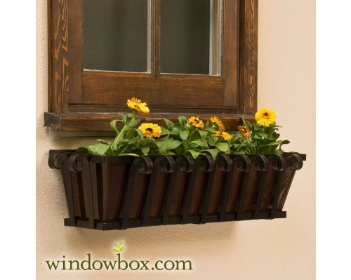 30 Venetian Decora Window Box with Bronze Galvanized Liner