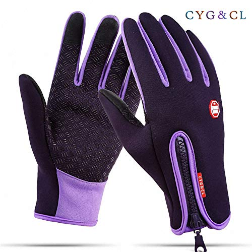 CYG&CL Outdoor Winter Touchscreen Waterproof Warm Adjustable Size Gloves for Running, Hiking, Clamming, Skiing, Cycling, Driving for Men & Women (Large, Purple)