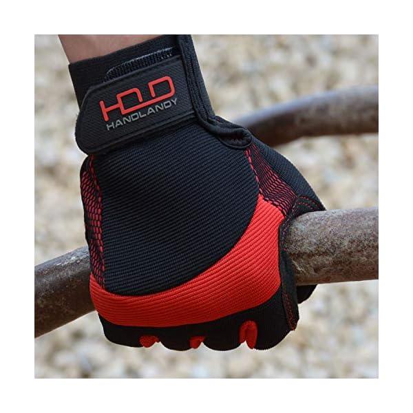 HANDLANDY Hi-vis Reflective Work Gloves, Anti Vibration Safety Gloves, Touch Screen, Orange Flexible Spandex Back (Small… 5