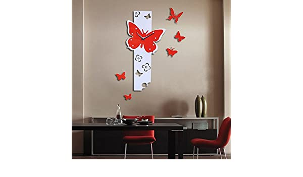 Ikevan 1Set Acrylic Art Modern 3D Mirror Butterfly Fly Pattern Large DIY Wall Clock Surface Sticker Home Office Decor Sofa TV Setting Wall Removable Wall ...