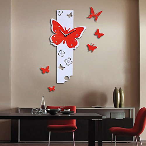 3D DIY Acrylic Mirror Round Pattern Wall Sticker Clock Home Decoration - 6