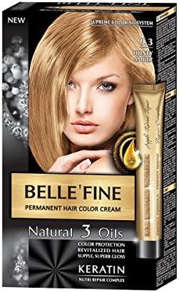 BELLEFINE® - Black Series - Tinte permanente natural - Con 3 aceites y queratina - Miel ámbar