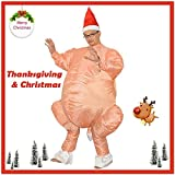 Inflatable Turkey Costume Thanksgiving Day Christmas Halloween Cosplay - Animal/Food Fancy Dress - Funny Carnival Party Uniforms Jumpsuit - Decoration Game Play Prop Home Bar Restaurant Store (Orange)