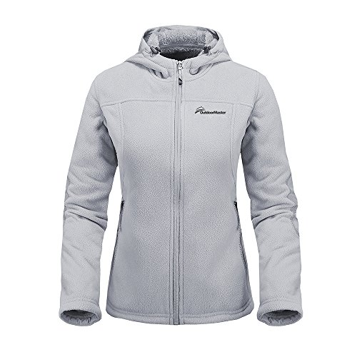 OutdoorMaster Women's Fleece Jacket - Waterproof & Stain Repellent, Ultra Soft Plush Lining & Optional Hoodie - Full-Zip (Grey Hoodie,L) - Plush Lining