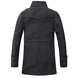 GARSEBO Men's Wool Blend Pea Coat Stand Collar Windproof Jacket