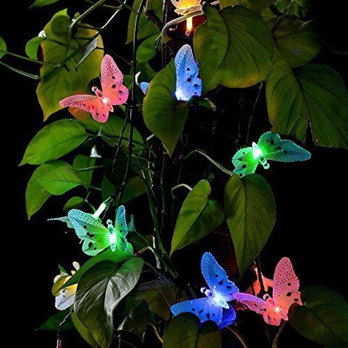 20LED Solar Powered Butterfly Fiber Optic Fairy String Outdoor Garden Lights UK