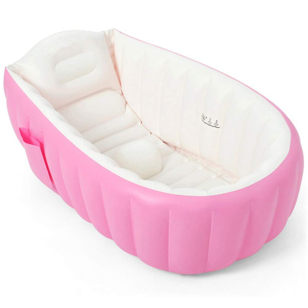 Pink LLVV Inflatable Baby Bathtub Portable Mini Air Swimming Pool Kid Infant Toddler Thick Foldable Shower Basin