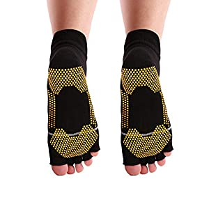 REAL SIC Five Toe Yoga Socks with Grips for Men 2-Pack