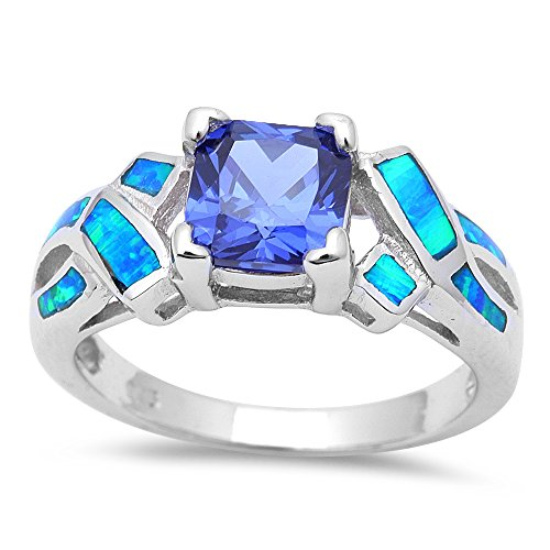 Oxford Diamond Co Princess Cut Simulated Tanzanite & Blue Opal Fashion .925 Sterling Silver Ring Size - Tanzanite Rings Silver
