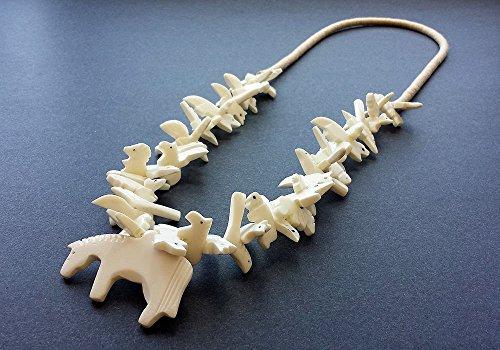 Hand Carved White Buffalo Bone Horse with Mixed Animals Fetish Necklace