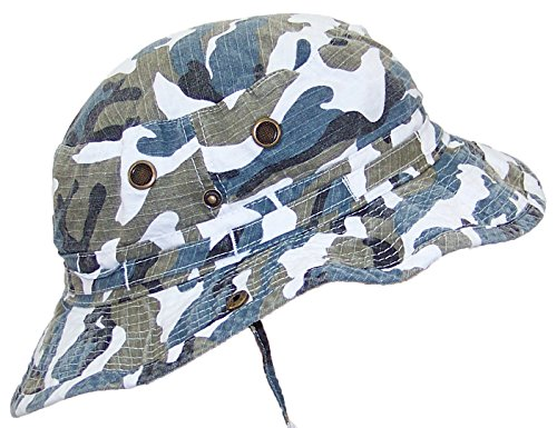 MG Camouflage Ripstop Floppy/Bucket Summer Hat W/Snap Up Sides & Chin Strap - Blue Camo Extra Large]()