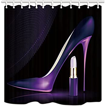 "Purple Shoe and Lipstick 71X71/"" Fabric Shower Curtain Set Bathroom Accessories"