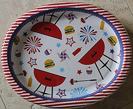 Patriotic 4th of July Party-Summertime BBQ Oval Paper Plates - 50 Count - 10u0026quot & Amazon.com | Patriotic 4th of July Party-Summertime BBQ Oval Paper ...