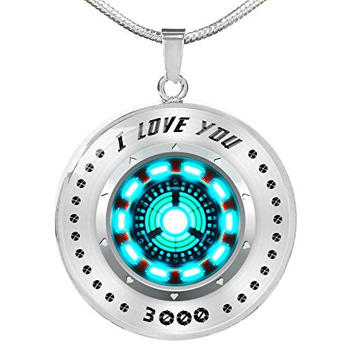 Fa Gifts Iron Man Necklace, I Love You 3000, Arc Reactor Pendant Necklace, Luxury Necklace Silver- Includes Gift Box!