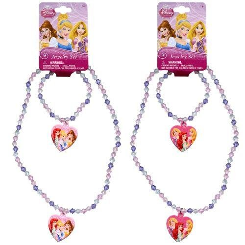 ([ Total 2 sets ] Disney Princess Bead Heart Charm Necklaces and Bracelets (1 Pink and 1 Light Pink))