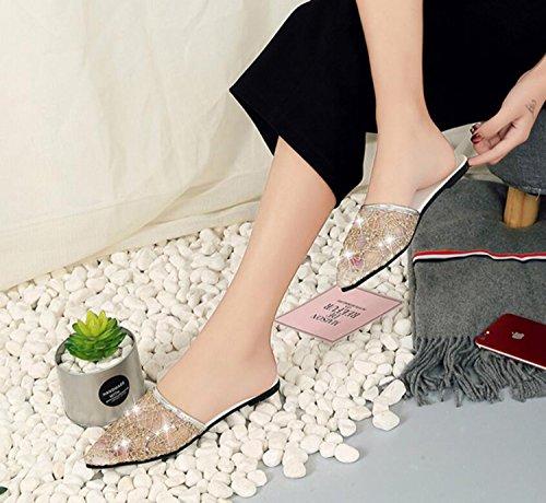 Printemps Chaussures Pointu DANDANJIE Casual D'Intérieur Pantoufles Pantoufles Mesh Respirant Mode Fil Plat Femmes Chaussures Dames gold Oqqw0rt