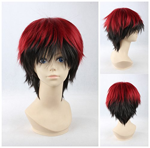Kadiya Short Red Mixed Black Boy Male Cosplay Wig Synthetic Hair (Red And Black Wigs)