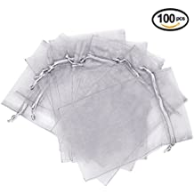 "Wuligirl 100pcs Drawstring Packages Gift Bags Watches Jewelry Lipstick Clips Nail Polish Pouches Baby Shower Wedding Christmas Party Favor Beads Cookies Candy Gift Pouches (Gray 100pcs 3.9""x4.7"")"