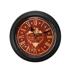 Adeco Black Iron Deep Red Face Roman Numerals Circular Wall Hanging Clock Home Decor