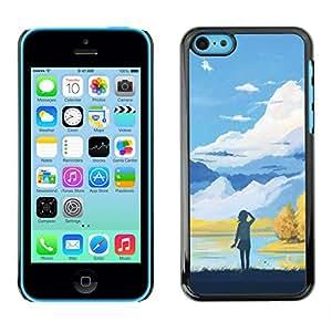 Caucho caso de Shell duro de la cubierta de accesorios de protección BY RAYDREAMMM - iPhone 5C - Chica En Las Montañas