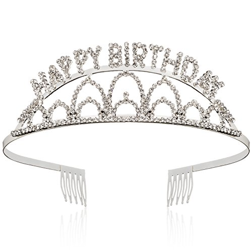 Elegant Rhinestone Happy Birthday Tiara - Premium Quality Metal Birthday Party Tiara -