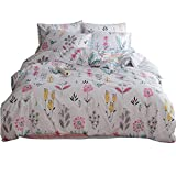 HIGHBUY Floral Printed Pattern Kids Duvet Cover Sets Twin Cotton Light Green Fresh Style Garden Bedding Sets 3 Piece for Boys Girls Reversible Striped Bedroom Collections Twin,Style03
