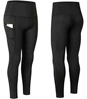 Rookay Womens High Waist Yoga Legging with Side Pockets Workout Gym Running Pants Tummy Control