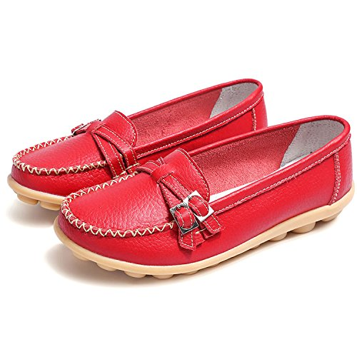Plate Confort Gesimei Casual Femme Mocassins Travail Cuir Chaussures Rouge Loafers Conduite Utpztqw