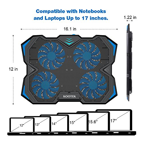 Kootek 12-17 Inch Laptop Cooling Pad, 4 Quiet Fans Cooler Chill Mat with Adjustable Speed Fan and 3 Height Mount Stand 2 USB Ports Chill Mats by Kootek (Image #4)