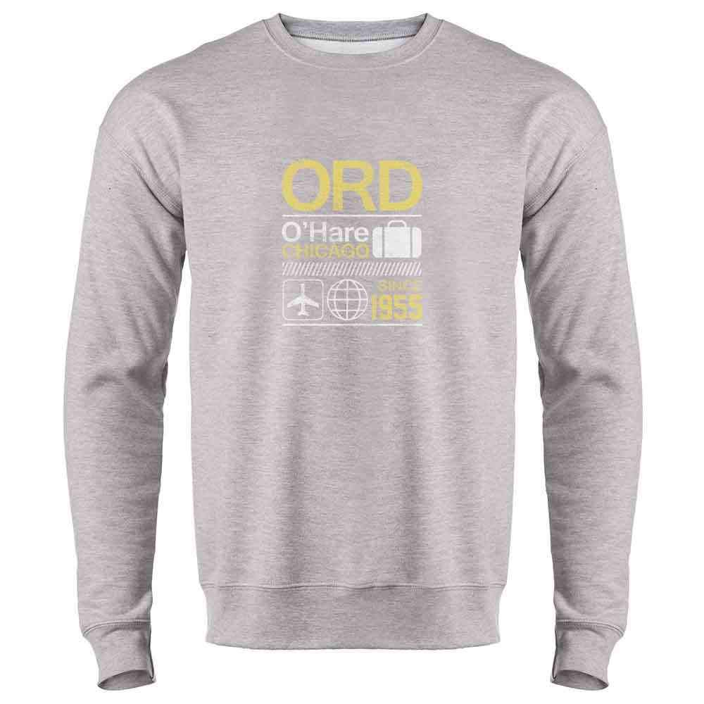 Pop Threads ORD OHare Chicago Airport Code Travel Mens Fleece Crew Sweatshirt